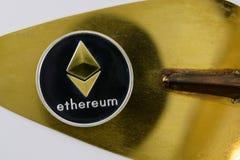 在金黄spatulla的金黄ethereum谎言在放大器玻璃下 免版税库存照片