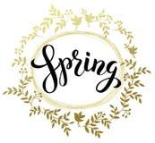 在金黄wr的春天手写的黑急性笔summering的春天 图库摄影