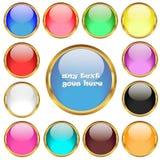 在金黄圆环传染媒介集合的光滑的按钮 库存照片