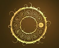 在金黄圈子的占星术标志 公牛标志 库存图片