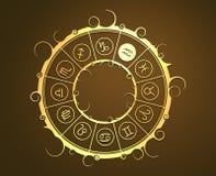 在金黄圈子的占星术标志 水持票人标志 免版税库存图片