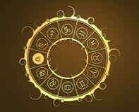 在金黄圈子的占星术标志 标度标志 免版税库存照片