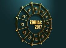 在金黄圈子的占星术标志 免版税库存照片