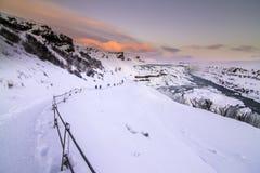 在金黄圈子的Gulfoss瀑布,冰岛 免版税库存照片