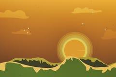 在金黄小时日出时间的美丽的橙色天空 图库摄影