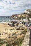 在金黄沙子手段的海滩在马耳他 库存图片
