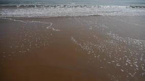 在金黄海滩的海浪 股票视频