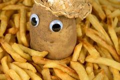 在金黄炸薯条的土豆 库存照片