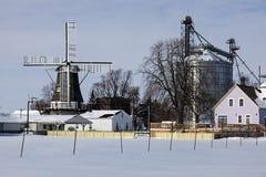在金黄的风车,伊利诺伊 库存图片