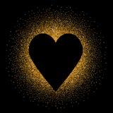 在金黄闪烁的背景的黑心脏 免版税库存图片