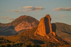 在针岩石的日落在克劳福德,科罗拉多 免版税库存照片