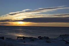 在钓鱼点圣安东尼纽芬兰的日出 免版税库存图片