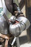 在钢制服打扮的战士 库存照片