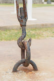 在钢勾子的铁锈 库存图片
