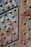在钢桥梁的生锈的钢板在波特兰,俄勒冈 图库摄影