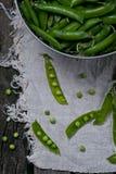 在钢碗的绿豆 图库摄影