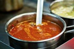 在钢罐的墨西哥调味汁 库存图片