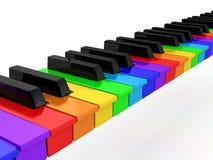 在钢琴彩虹白色的背景 库存图片