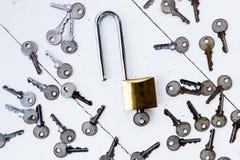 在钥匙附近的万能钥匙在白色木背景 库存图片