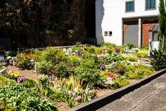 在钦琼特佩克火山教区教堂的坟墓在马德拉岛葡萄牙的海岛上的 库存图片
