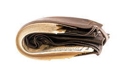 在钱包里有很多货币 免版税图库摄影