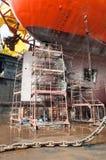 在钻井船的脚手架 库存照片