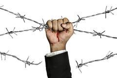 在铁丝网后的征服者障碍 免版税库存照片