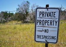 在铁丝网篱芭的私有财产标志 免版税库存图片