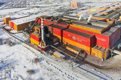 在铁和钢厂工厂的鸟瞰图 俄国 免版税库存图片