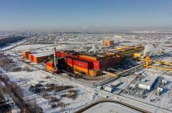 在铁和钢厂工厂的鸟瞰图 俄国 图库摄影