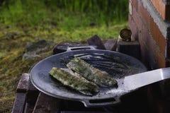 在铁平底锅的鱼 免版税库存图片