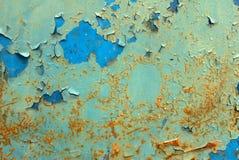 在铁表面纹理背景的切削的油漆 库存照片