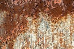 在铁表面纹理背景的切削的油漆 免版税库存照片