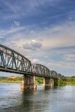 在铁路河罗马尼亚的桥梁olt 免版税库存照片
