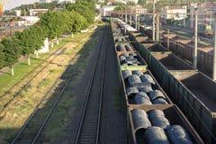 在铁路的一列火车 库存照片