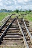 在铁路的一把叉子 库存照片