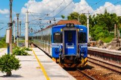 在铁路的火车在台湾 库存照片