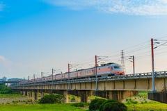 在铁路的火车在台湾 免版税库存照片