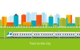 在铁路的火车有城市背景 向量例证