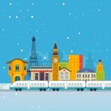 在铁路的火车有城市背景 库存照片