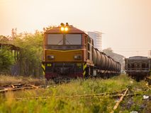 在铁路的货物火车在草生长胎盘 库存图片