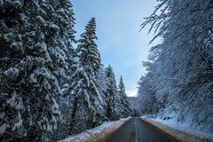 在铁路路附近的城市发光雪星期日对冬天木头 乡下公路通过森林旅行概念 免版税库存照片