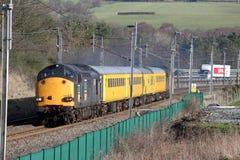 在铁路轨道测试培训附近的cumbria lowgill 库存照片