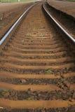 在铁路轨道,里加的曲线 库存图片