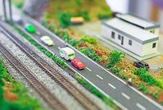 在铁路附近的车行道 图库摄影