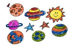 在铅笔的儿童的图画在纸,幼儿园,画,学会,画与老师 皇族释放例证