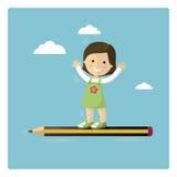 在铅笔的女孩飞行 库存图片