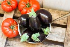 在铜浸染工的MMini茄子和在年迈的木箱子,顶视图的成熟raff蕃茄 库存照片