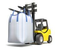 在铲车的大块袋子 皇族释放例证