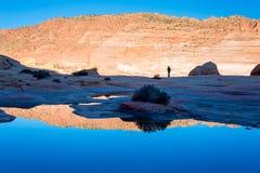 在银朱的峭壁亚利桑那的土狼小山 图库摄影